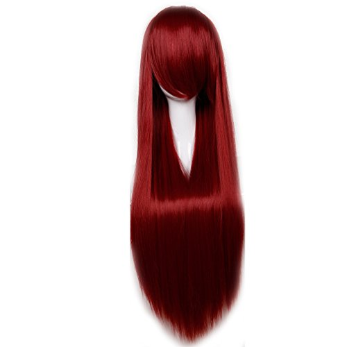 Heat Resistant Synthetic Wig Japanese Kanekalon Fiber 13 Colors Full Wig with Bangs Long Curly Wavy Wave Straight 32'' / 80cm Wig for Women Girls Lady Fashion and Beauty (Straight, Wine Red)