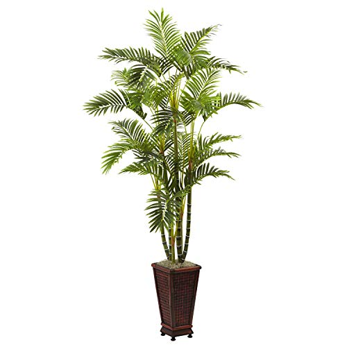 (MISC Green Areca Palm Tree Artificial Plants Tropical Indoor Palmtree in Planter Floral Dypsis Lutescens Botanical Arecaeae Butterfly Palm Golden Cane Plant 6.5-Foot Traditional, Polyester Plastic)
