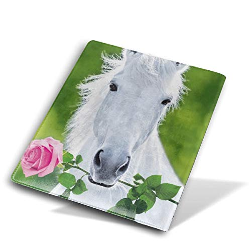 JSYAGSJ White Horse with Flower Stretchable Book Cover,Fits Most Hardcover Textbooks Up to 9 X 11,are A Needed School Supply for Students.
