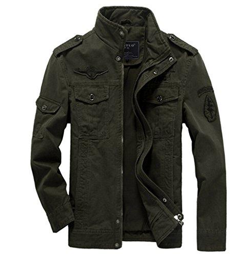 Szyysd In Militare Green Slim Cotone 8331 Casual Leggero Uomo Giacca army Fit Da rwUAB0qrI