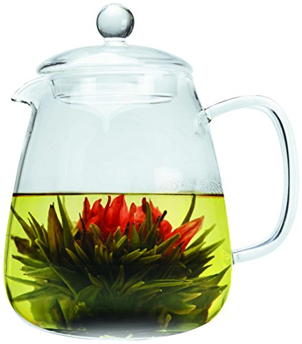 Primula Glass Top (Primula 36 oz Layla Glass Teapot w/Loose Leaf Glass Infuser and 2 Flowering Teas)