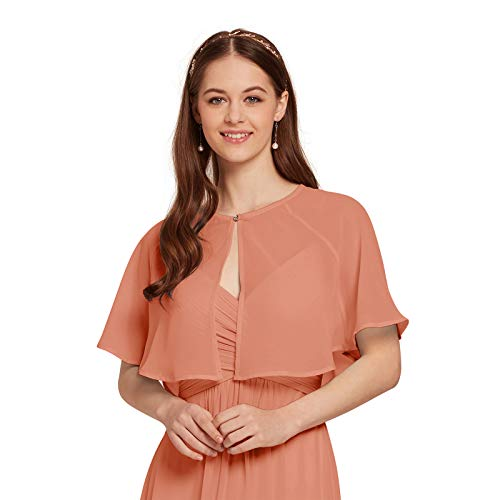 (AW Women's Chiffon Wrap Shawl Shrug Wedding Cape Bolero Jacket Evening Coat Cover Up, Peach Pink, S)