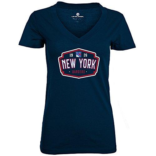 Womens V-neck Rangers - Levelwear LEY9R NHL New York Rangers Adult Women Entice Crested V-Neck Tee, Medium, Solid Navy