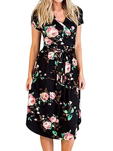 (Womens Floral Print Boho Dress Vintage V Neck Wrap Short Sleeve Slim Dress with Belt (2-Black, Large))