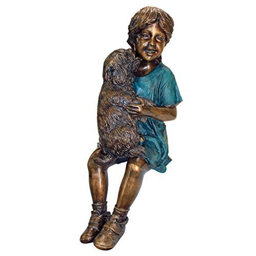 Girl Getting Puppy Kisses Bronze Garden Statue
