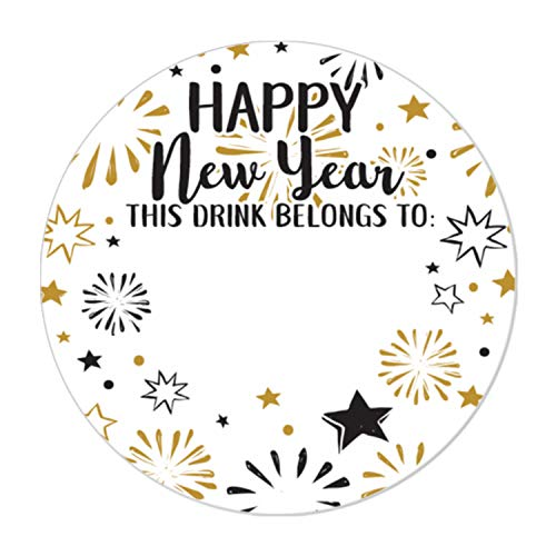 New Year's Eve Party Drink Cup Name Tag Labels, 60 Count ()