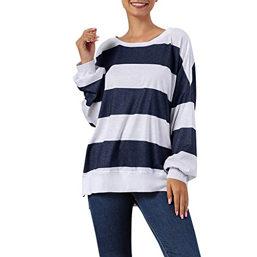 Womens Casual Long Sleeve Crewneck Color Block Striped Loose Sweatshirt Tops Pullover Shirts Blouses ()