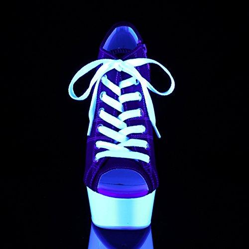 Pleaser Plateau Sneaker Heels mit Stöckelabsatz und Schnürung, Offener Zehenbereich, Vegan in Rot/Weiß mit Schwarzlich-Effekt Delight-