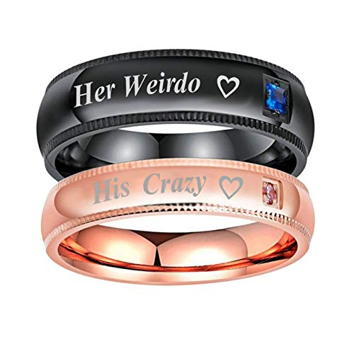 Beydodo Wedding Ring and Band Set for Women Rings Stainless Steel Set Engraved Heart Her Weirdo and His Crazy CZ Women Size 11 and Men Size 11