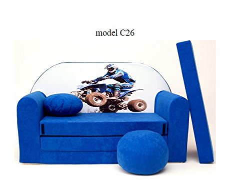 Sofá infantil, para niños, decorativo, puf, puf, convierte en un mini-sofá-cama