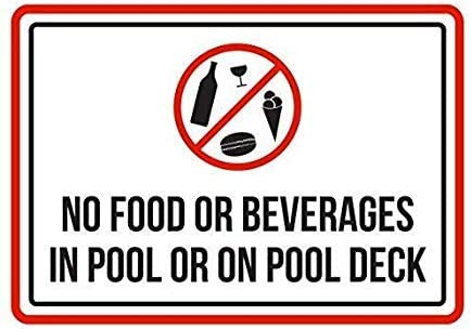 Modtory rustikales Metallschild No Food Or Beverages in Pool Or On Pool Deck Spa, Warnschild aus Aluminium