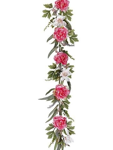Amazon pink peony magnolia silk flower garland 5 long pink peony magnolia silk flower garland 5 long mightylinksfo Choice Image