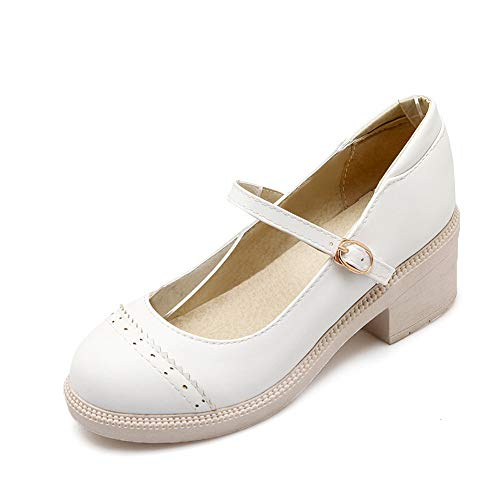 Structured Solid Pumps White Urethane Shoes APL10401 BalaMasa Womens Herringbone 5pw4aAxq