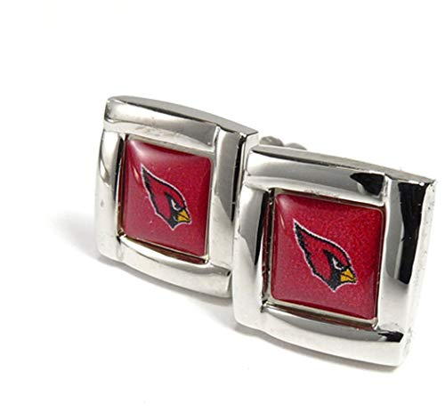 NFL Arizona Cardinals Womens NFL Sports Team Logo Square Cufflinks with Gift Box Set, Silver, One Size