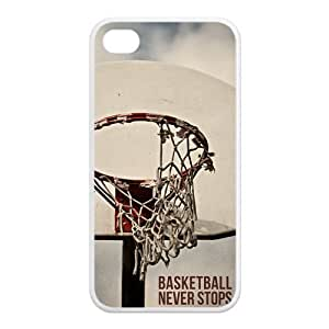 AZA RUBBER SILICONE Case for iPhone 4,iPhone 4S, Basketball Never Stops Protective RUBBER iPhone Case-Black/White