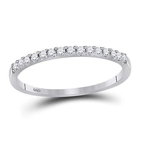 Jewels By Lux 14kt White Gold Womens Round Diamond Slender Stackable Wedding Band 1/6 Cttw Ring Size 8.5