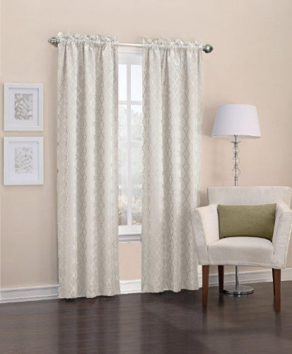 Easy Care Fabrics Thermal Pole Top Trellis Embroidered Room Darkening Curtains, 40 by 95-Inch, Ivory, Set of 2 (Ivory Curtain Pole)