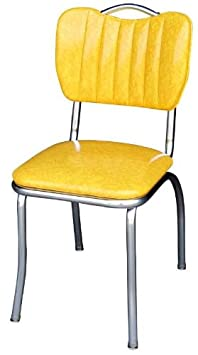 Richardson Seating Retro 1950s Handle Back Diner Side in Cracked Ice Yellow