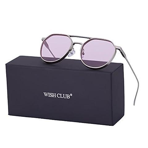 WISH CLUB Round Retro Transparent Sunglasses for Men Women Fashion Vintage 60s Stylish UV 400 Glasses(Pink)