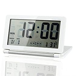 La Tartelette Multifunction LCD Digital Travel Desk Electronic Alarm Clock with Silent Function and Large Screen, Date/Time/Calendar/Temperature Display, Snooze, Folding - White & Silver