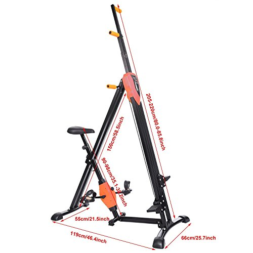 Lantusi Vertical Climber Maxi Climber Climbing Stair Machine Folding Step Climber Cardio Exercise Machine for Home GYM, Orange/Pink (US STOCK)