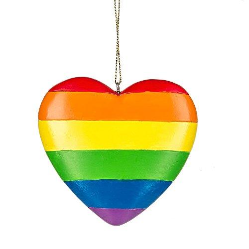 Rainbow Pride Heart Resin Hanging Christmas Ornament