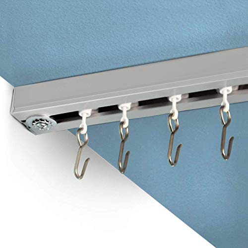 (RoomDividersNow Ceiling Track Set - Medium, For Spaces 6ft - 12ft Wide (Silver))