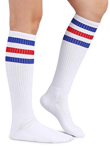 (Eleray Cushion Classic Triple Stripes Cotton White Knee High Retro Tube Socks (Blue/Red/White))