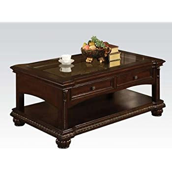 Amazon Com Acme 10322 Anondale Coffee Table Cherry Finish Kitchen Amp Dining