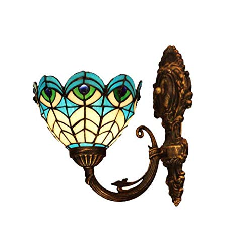 Yd&h Tiffany Style Wall Lamp,6-inch Peacock Feather Design/Blue Glass Art Corridor Lights,Bath Wall Lights Bedroom Living Room Club Wall Sconces,MAX 30W