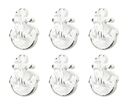 (Set of 6 White Iron Anchor Coastal Drawer Pulls or Nautical Cabinet Knobs for Anchor Decor)