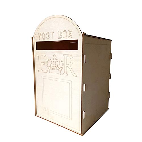 Leepesx DIY Wooden Wedding Mailbox Post Box with Lock Rustic Hollow Gift Card Holder for Reception Wedding Anniversary Party - Mailbox Gift