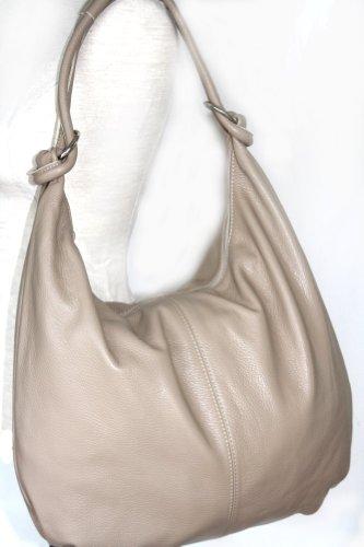 fashion-formel Leder Shopper Beuteltasche XXL DIN A4 Italy Helltaupe JGX5f05E0