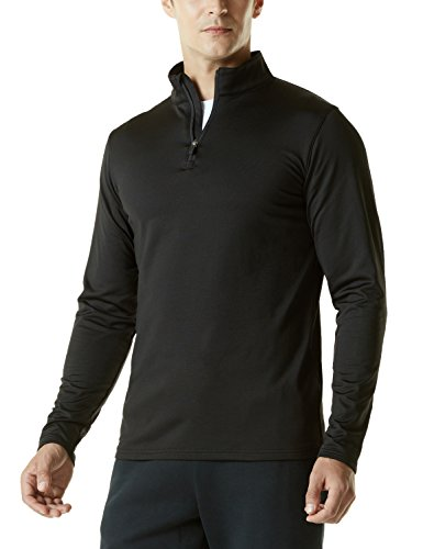 1/4 Zip Fleece Sweatshirt (TM-YKZ01-BLK_Large Tesla Men's Winterwear Sporty Slim Fit 1/4 Zip Fleece Lining Sweatshirt YKZ01)