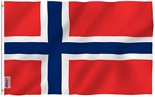ANLEY [Fly Breeze] 3x5 Foot Norway Flag - Vivid Color and UV Fade Resistant - Canvas Header and Double Stitched - Norwegian Nordmann National Flags Polyester with Brass Grommets 3 X 5 Ft