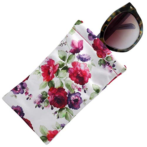 Soft Sunglasses case, Squeeze Top pouch,Large soft eyeglass case (Cranberry Rose)