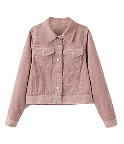 UUYUK Womens Vintage Corduroy Button Blazer Jacket Slim Retro Coats Pink US L