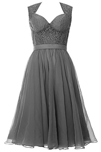 MACloth Women Chiffon Lace Illusion Short Prom Formal Dress Evening Party Gown Gris