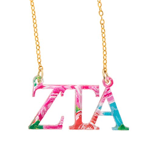 Zeta Tau Alpha Sorority Floating Necklace with Letters Floral Pattern Necklace Adjustable Chain ZTA (Alpha Merchandise)