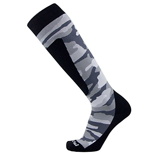 Midweight Camo Snowboard Socks - Merino Wool Winter Cold Weather OTC Ski Sock - Great for Snowboarding, Skiing, Snow Shoeing, Outdoors (M, Snow)