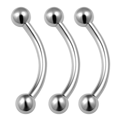 3PCS Stainless Steel Banana Barbell 14g 3/8 10mm 3mm Ball Eyebrow Cartilage Daith Lip Earrings Cartilage Piercing Jewelry 0078
