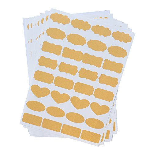 Uniclife Essential Oil Bottle Stickers Labels Fancy Kraft Paper, 8 Sheets of labels, 256pcs ()