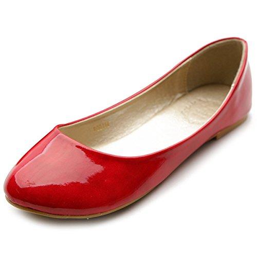 Ollio Womens Ballet Shoe Basic Light Low Heel Enamel Multi Color Flat Red