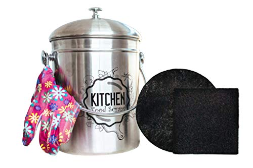 Kitchen Compost Bin Stainless Steel (Food Grade 410) Odorless Countertop Compost Pail -Bonus Charcoal Filters & Gardening Gloves. Insect-proof 1.3 Gallon bucket. Gift Boxed, and Gift Wrap available by Green Hills Health (Image #8)