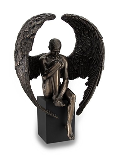 Resin Sculptures Bronze Finished Pensive Male Angel Statue On Black Base 7 X 10 X 4 Inches Bronze