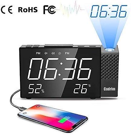 Despertador Proyector, Cadrim Despertador Reloj Digital de ...