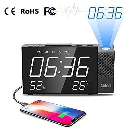 Despertador Proyector, Cadrim Despertador Reloj Digital de Proyección, con Alarma de Proyección de Radio FM,Dobles Alarmas, Función Snooze,6.3inch LED ...