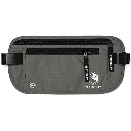 VENTURE 4TH RFID Safe Travel Money Belt Hidden Passport Holder (Gray)
