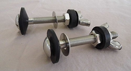 Toilet Bolts,Tank to Bowl Stainless Steel 5/16-inch By 3 Inch Heavy Duty Bolts with Rubber and Stainless Steal Washers and Wing Nuts
