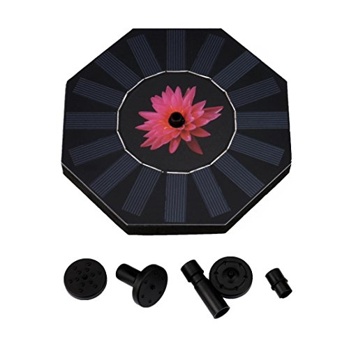 Transer Solar Bird bath Fountain Pump for Garden and Patio, Free Standing 1.4W Solar Panel Kit Water Pump, Outdoor Watering Submersible Pump (Birdbath & Stand Not Included) (Black) by Transer